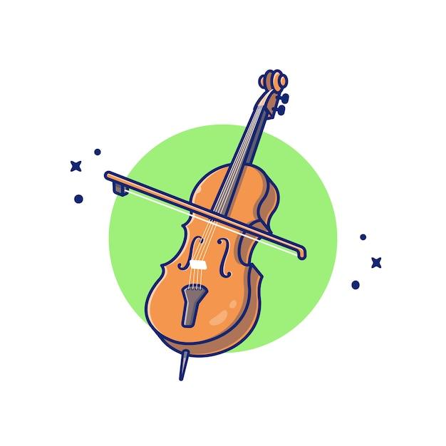 Cello viool cartoon pictogram illustratie. het pictogramconcept geïsoleerde premie van het muziekinstrument. flat cartoon stijl Premium Vector