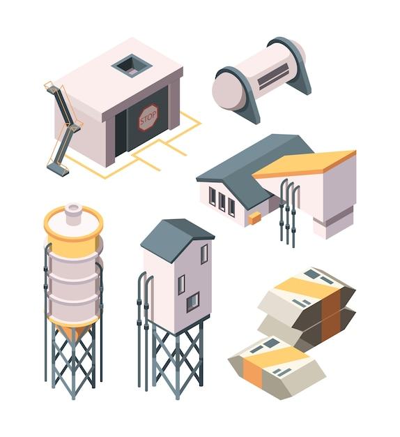 Cementproductie. betonmixer voor zware industrie en tanks isometrische verzameling Premium Vector