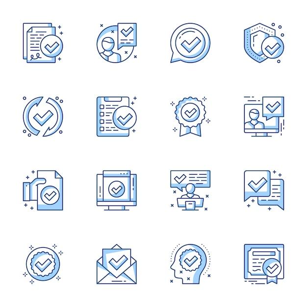 Certificaat, garantie juridische documenten lineaire pictogrammen instellen. Premium Vector