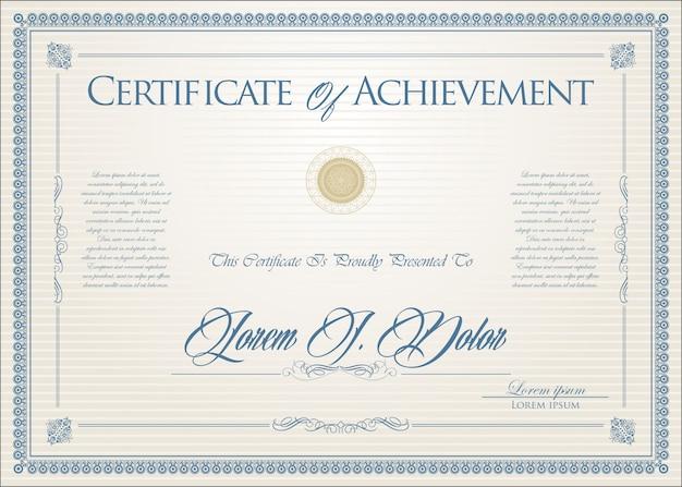 Certificaat of diploma retro-ontwerp Premium Vector