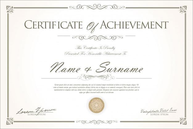 Certificaat of diploma retro vintage ontwerp Premium Vector