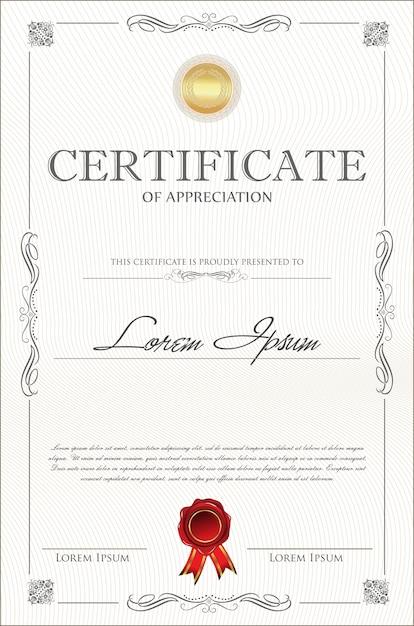 Certificaat of diploma retro vintage sjabloon Premium Vector