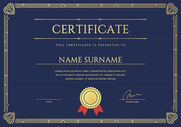 Certificaat- of diplomasjabloon. Premium Vector