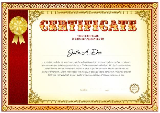 Certificaat van voltooiing lege sjabloon. Premium Vector