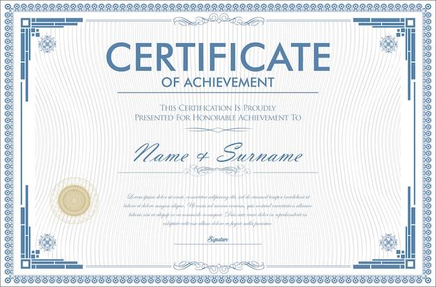 Certificaat van voltooiing retro ontwerpsjabloon Premium Vector