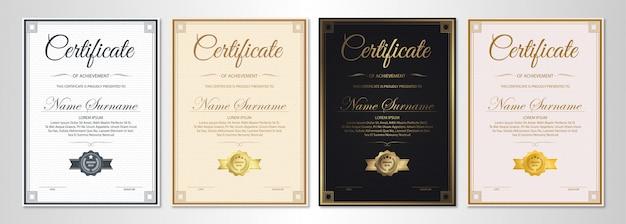 Certificaat van waardering sjabloon met vintage gouden rand Premium Vector