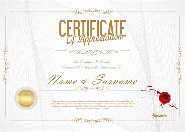 Certificaat van waardering sjabloon retro design Premium Vector