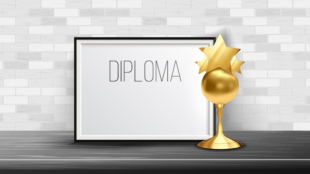 Certificaatdiploma met gouden beker Premium Vector