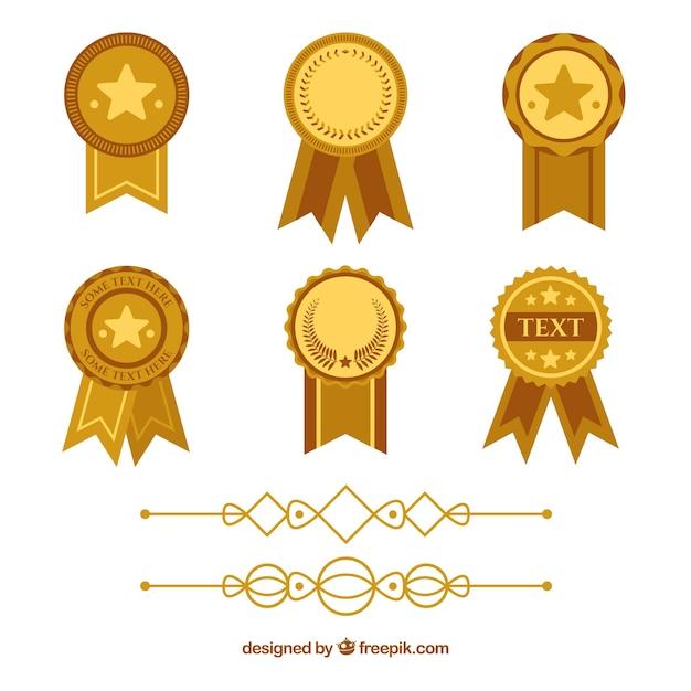 Certificaatelementen verzamelen in vlakke stijl Gratis Vector