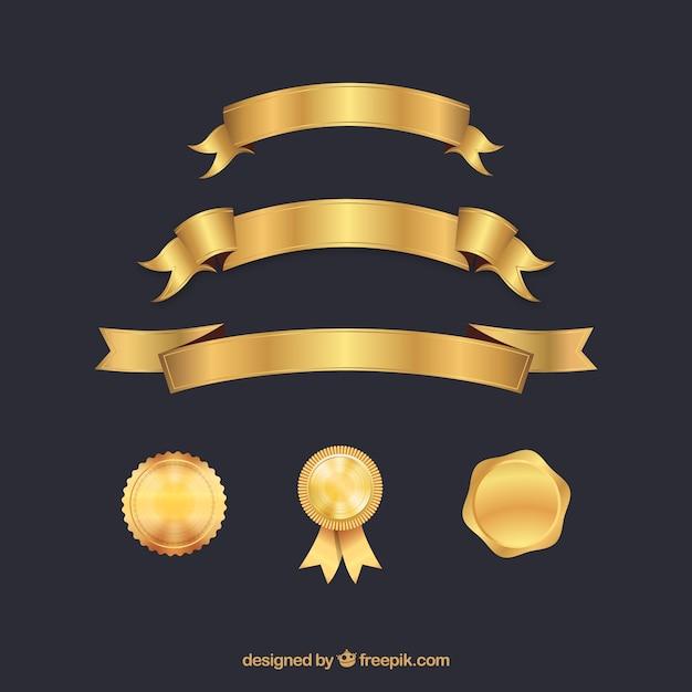 Certificaatelementeninzameling in gouden kleur Gratis Vector