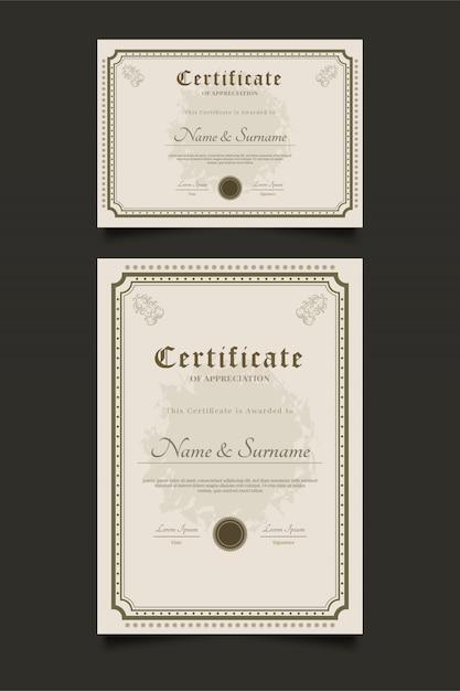 Certificaatsjablonen met sierkader in vintage stijl Premium Vector