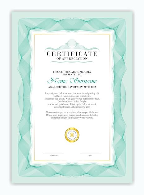 Certificaatsjabloon met klassieke guillochestijl en sierlijst Premium Vector
