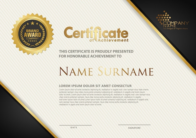Certificaatsjabloon met luxe en elegant textuur modern patroon Premium Vector