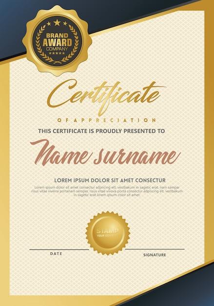 Certificaatsjabloon met luxe en elegante textuur Premium Vector
