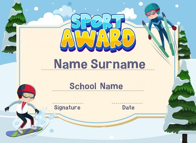 Certificaatsjabloon voor sport award met kinderen die ski spelen Premium Vector