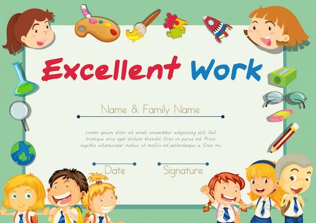 Certificatie sjabloon voor studenten met uitstekend werk Gratis Vector