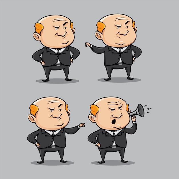 Chagrijnig baas karakter in verschillende poses Premium Vector