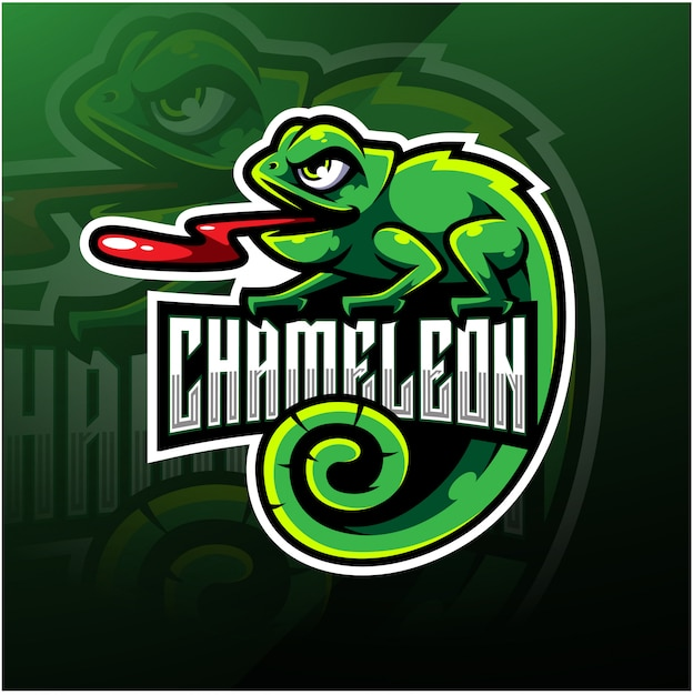Chameleon esport mascotte logo ontwerp Premium Vector