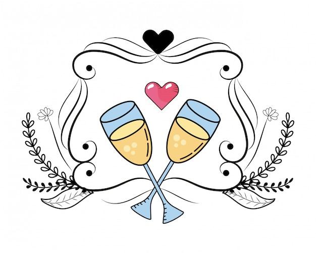 Champagne glas cartoon Premium Vector