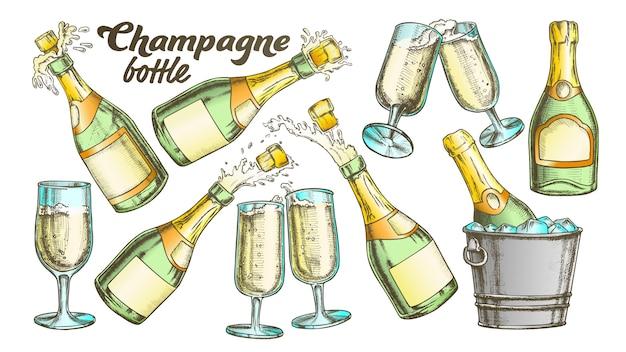 Champagnefles en glas set Premium Vector