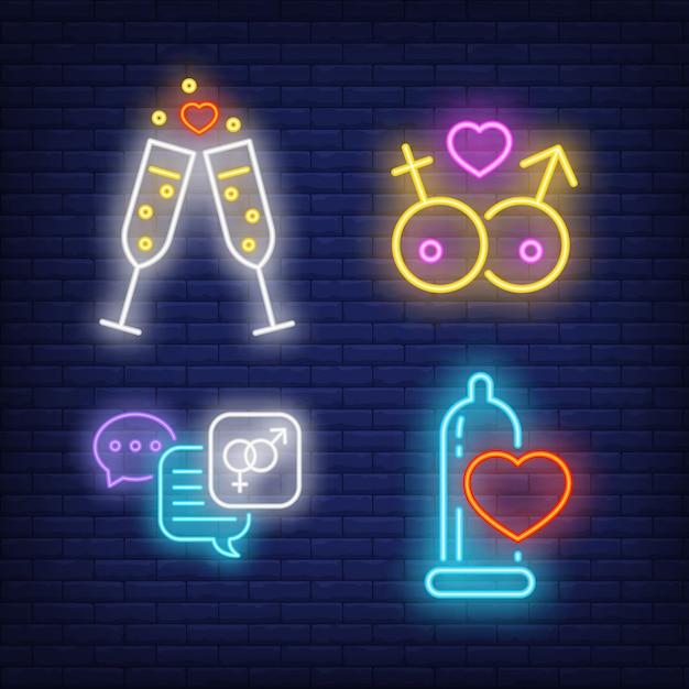 Champagneglazen, tekstballonnen en neonreclame voor condooms Gratis Vector