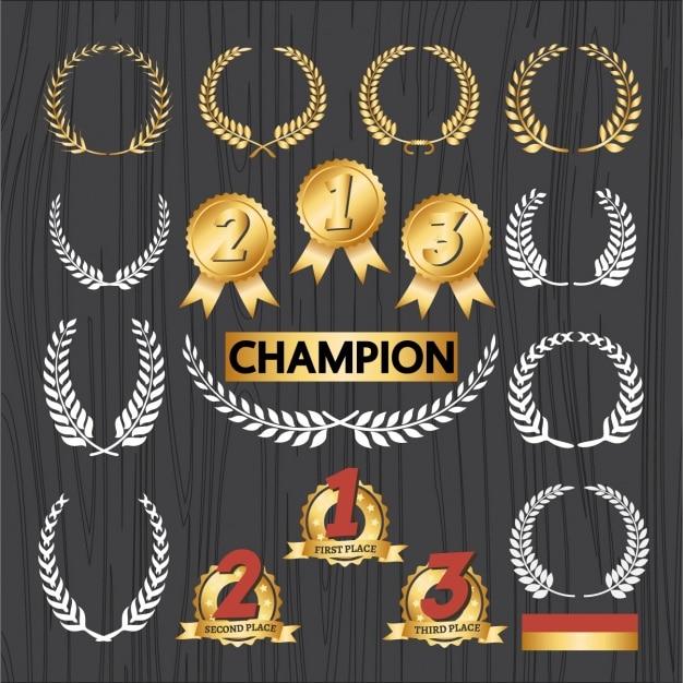 Champion emblemen instellen Gratis Vector