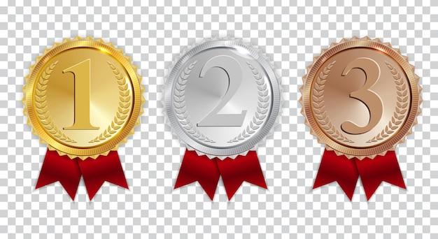 Champion gouden, zilveren en bronzen medaille met rood lint pictogram teken eerste, tweede en derde plaats ingesteld Premium Vector