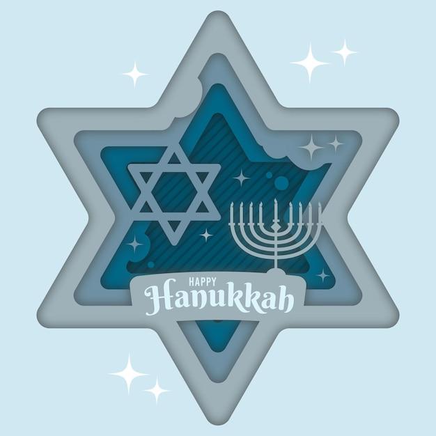 Chanoeka in papierstijl met religieus symbool en kroonluchter Gratis Vector