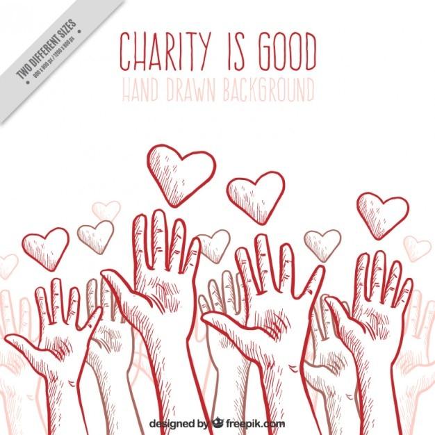 Charity achtergrond met handen en harten Gratis Vector