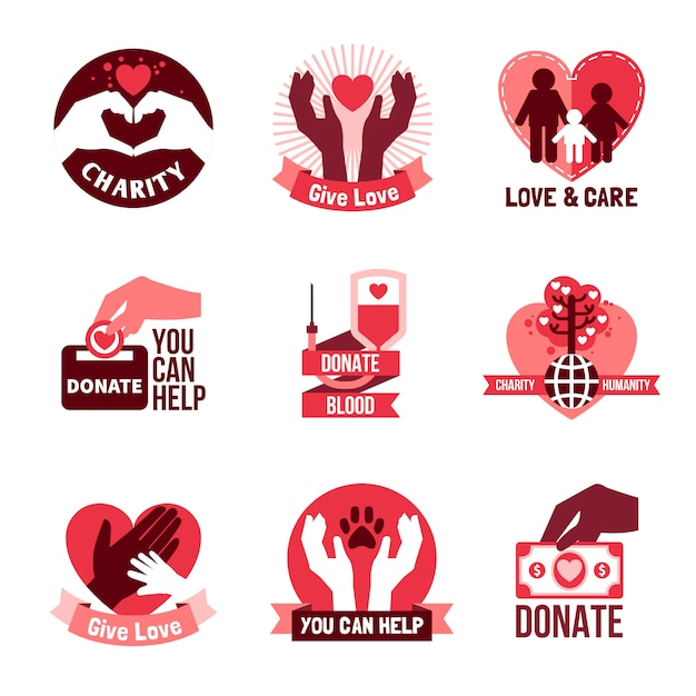 Charity logo emblemen set Gratis Vector