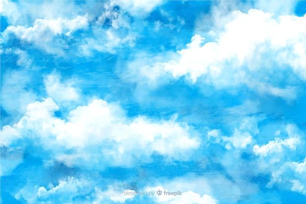 Charmante aquarel wolken achtergrond Gratis Vector