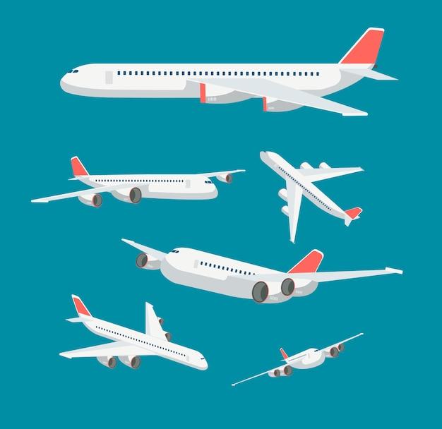 Charter vlak vliegtuig in verschillende opzichten. burgerlijke vliegtuigenreis en luchtvaart vector geïsoleerde symbolen Premium Vector