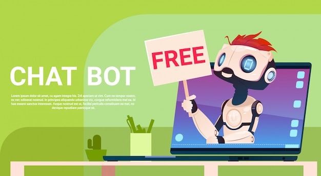 Chat bot free, robot virtual assistance of website of mobiele applicaties, artificial intelligence c Premium Vector
