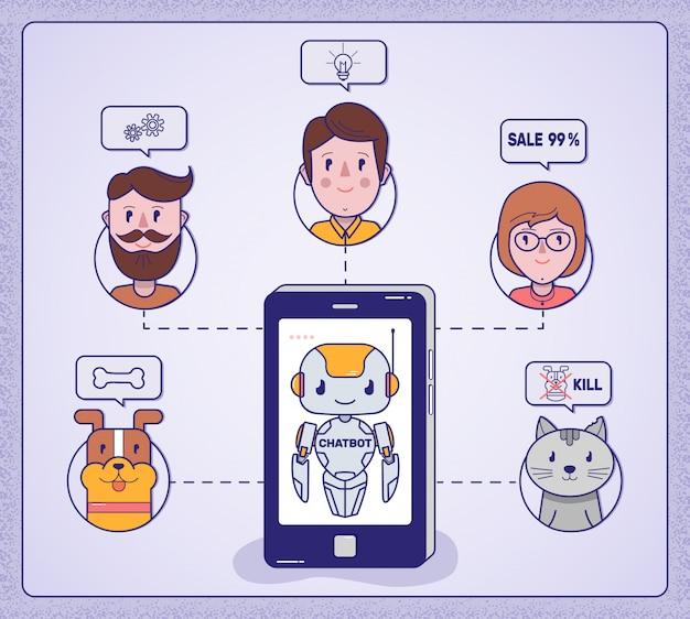 Chat bot geeft advies aan het hele gezin Premium Vector