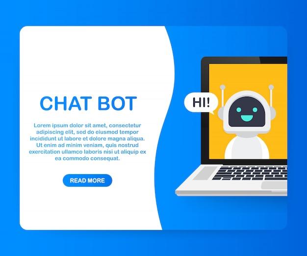 Chat bot met behulp van laptop, robot virtuele hulp van website of mobiele applicaties. voice support service bot. online ondersteuning bot. . Premium Vector