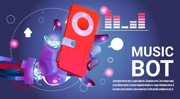 Chat bot music robot virtuele hulp van website of mobiele toepassingen, kunstmatige intelligentie c Premium Vector