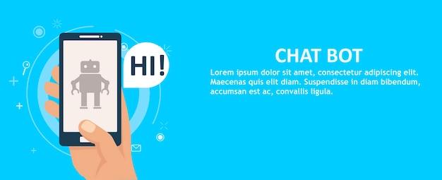 Chat bot op de telefoon in de hand. banner. Gratis Vector