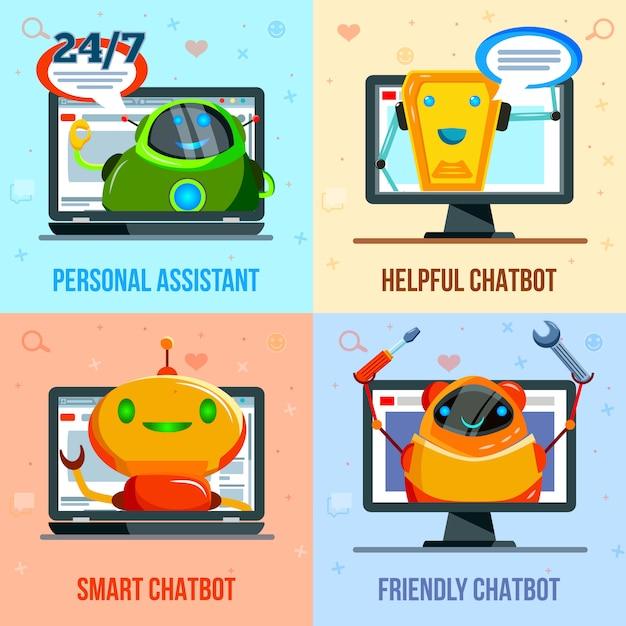 Chat bot plat ontwerpconcept Gratis Vector