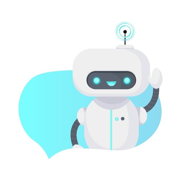 Chat bot robot geïsoleerd op wit. Premium Vector
