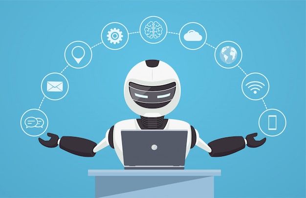 Chat-bot, virtuele robot-assistentie. Premium Vector