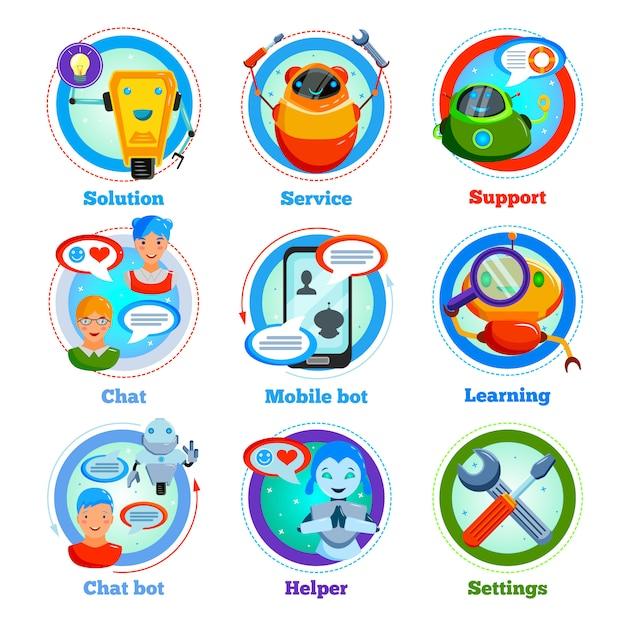 Chat bot vlakke pictogrammen Gratis Vector