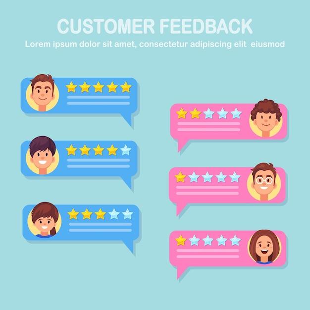 Chat commentaar concept. klanten feedback. beoordeel toespraken met sterren Premium Vector