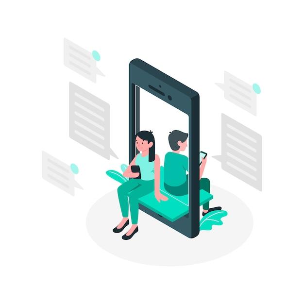 Chat concept illustratie Gratis Vector