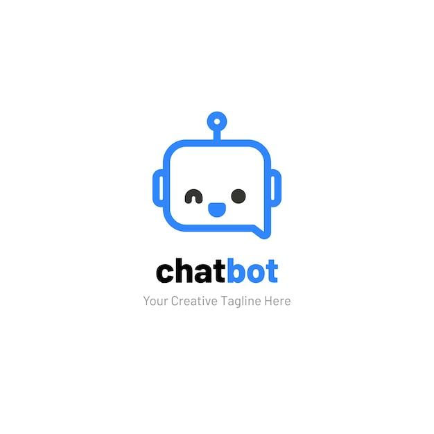 Chat-logo met robotgezicht Premium Vector