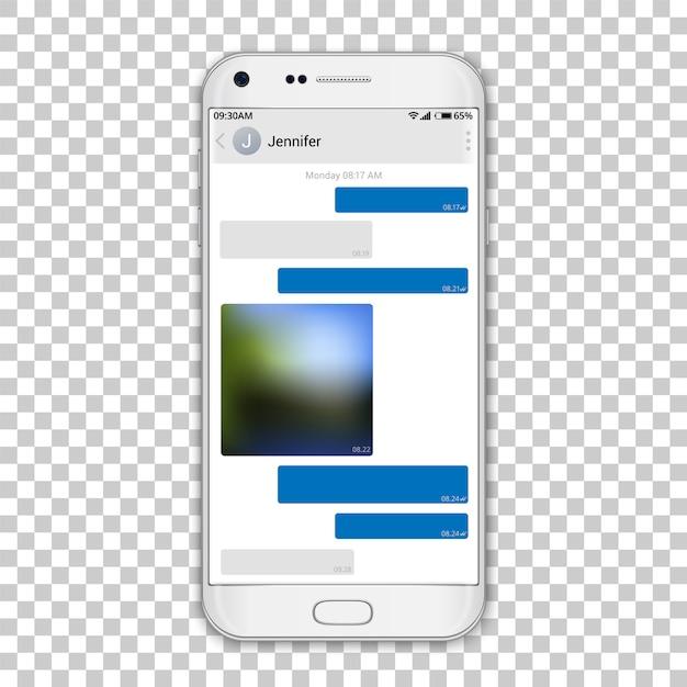 Chat messenger op telefoonscherm Premium Vector