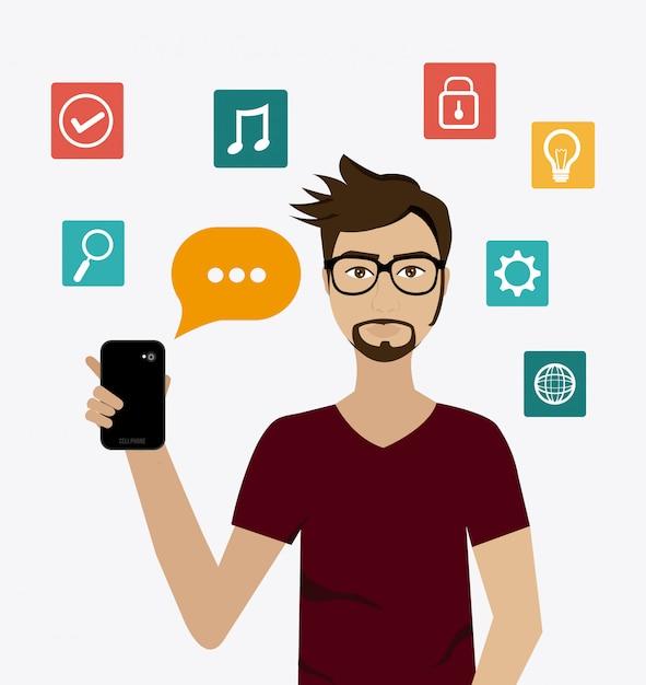 Chat mobiel ontwerp. Premium Vector