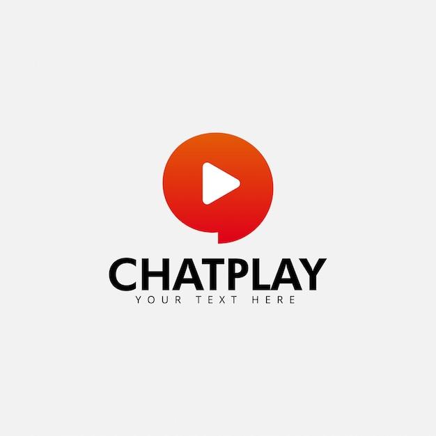 Chat play logo ontwerp sjabloon vector geïsoleerd Premium Vector