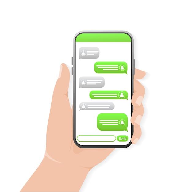 Chat-scherm met hand. tekst bericht. groene praatjebel. smartphone-scherm. Premium Vector
