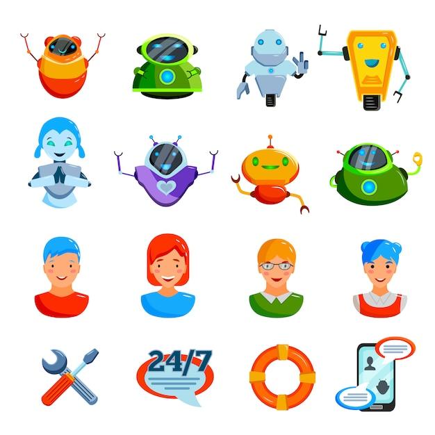 Chat symbolen platte set Gratis Vector