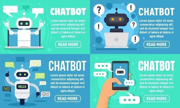 Chatbot-bannerset Premium Vector